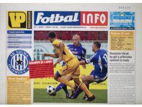 Program Fotbal Info, Olomouc vs. Slavia Praha IPS, 2003 velký formát