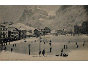Dobová fotopohlednice, Kluziště v Zurichu (1)