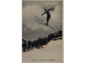 Dobová fotopohlednice, Skoky na lyžích, 1923 (1)