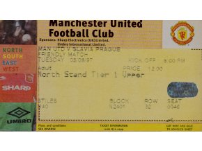 Vstupenka fotbal Manchester United vs. Slavia Prague, 1997