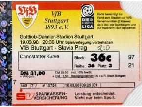 Vstupenka fotbal VfB. Stuttgart vs. Slavia Pragu, 1998