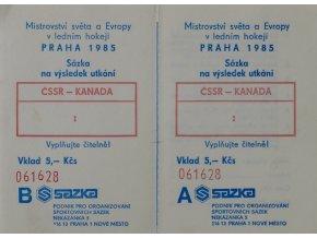 Sázenka na MS hokej 1985, ČSSR Kanada. Sazka, 1985