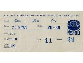Vstupenka permanentka kupon, MS hokej Praha, CAN v. USA, 1985 (1)