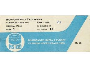 Vstupenka, MS hokej Praha, ČSSR v. USA, 1985