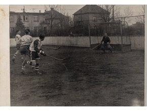 Dobová fotografie pozemní hokej, Slavia v. Stadion, 1958