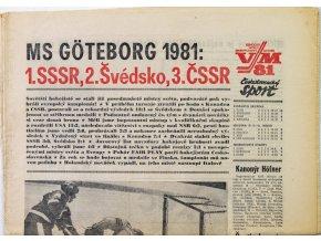 Noviny Československý sport, speciál MS Hokej, Goteborg 81