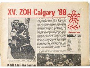 Noviny Československý sport, speciál Calgary 88