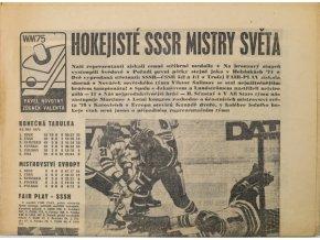 Noviny Československý sport, Hokejisté SSSR mistry světa, 1975