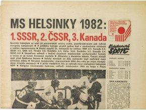 Noviny Československý sport, MS Helsinky 1982