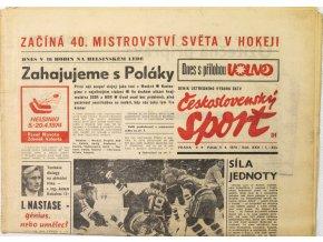 Noviny Československý sport, Začíná 40.MS v hokeji, 1974