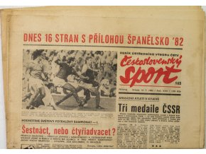 Noviny Československý sport, Dnes 16 stran s přílohou Španělsko,1982
