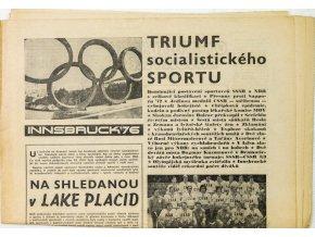 Noviny Československý sport, Triumf socialistického sportu, ZOH Innsbruck, 1976