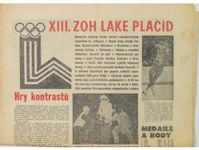 Noviny Československý sport, ZOH Lake Placid, Hry kontrastů, 1976