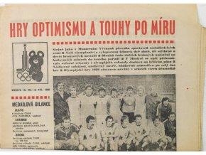 Noviny Československý sport, OH Moskva, Hry optimismu a touhy po míru, 1980