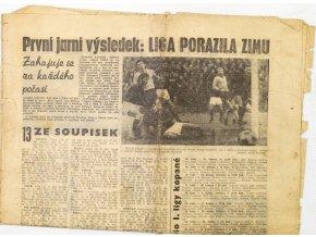 Noviny Československý sport, fragment, První jarní výsledek Liga porazila zimu, 1970