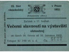 Vstupenka IX. Slet všesokolský, Večerní slavnosti, 1932 (1)