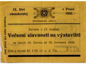 Vstupenka IX. Slet všesokolský, Večerní slavnosti, 1932 II (1)