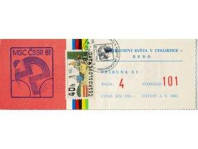 Vstupenka MS v Cyklistice Brno, 1981 (1)