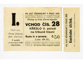 Vstupenka VIII. Slet všesokolský, 1926
