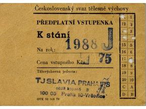 Vstupenka předplatná, TJ Slavia Praha IPS, 1988 (1)