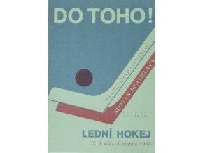 Program hokej, DO TOHO!, Litvínov v.Slovan Bratislava, 1984