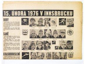 Noviny Československý sport, 15.února 1976 v Innsbrucku, fragment