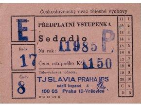 Vstupenka předplatná, TJ Slavia Praha IPS, 1985 (1)