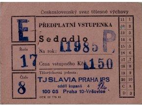 Vstupenka předplatná, TJ Slavia Praha IPS, 1985 II