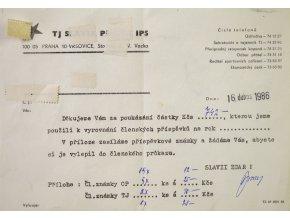 Tiskopis Odboru přátel TJ Slavia Praha IPS, potvrzení o zaplacení, 1986