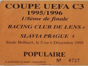 Vstupenka Coupe UEFA, Racing club de Lance v. Slavia Prague, 1995 (1)