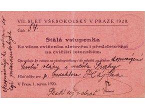 Stála vstupenka VII. Všesokolský slet v Praze 1920 (1)