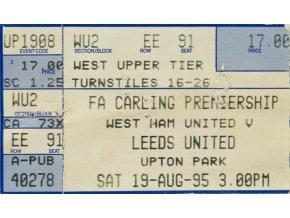 Vstupenka fotbal West Ham United v.Leeds United , 1995