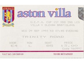 Vstupenka fotbal Aston Villa v. Slovan Bratislava , 1993