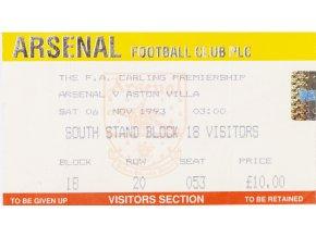 Vstupenka fotbal, Arsenal London v.Aston Villa, 1993
