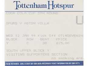 Vstupenka fotbal, Tottenham Hotspur v.Aston Villa, 1994