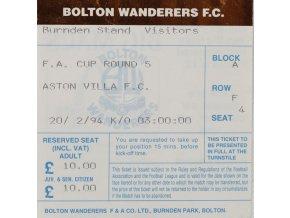 Vstupenka fotbal, Bolton Walderers F.C. v.Aston Villa, 1994