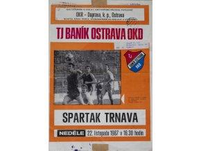 Program FC Banik Ostrava vs. Spartak Trnava, 1987