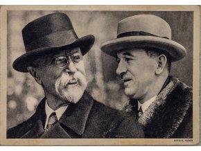 Pohlednice president TG Masaryka a president E. Beneš, smutek Československa, 1937 (2)