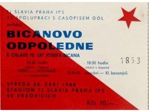 Vstupenka + pozvánka, Josef Bican, 75 let. 1988 (1)