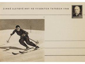 Korespondenční lístek, zimní sletové hry vo Vysokých Tatrách, 1948