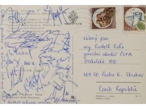 Pohlednice Firenze, pozdrav ze semináře rozhodčích, autogramy (1)