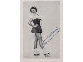 Fotografie, Jana Vymětalová, krasobruslení, autogram, 1951