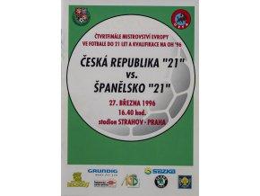 Program fotbal 21 ČSSR vs. Španělsko, 1996