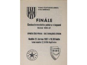 Program k utkání Sparta v. Dunajská Streda , 1987