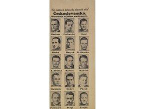 Výstřižek z novin Hockeyiové mistrovství světa, Československo. Buckna a jeho svěřenci, 1938