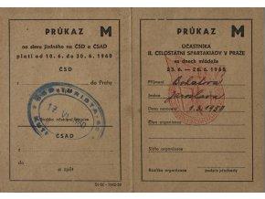 Průkaz účastníka II. celostátní spartakiády v Praze, 1960