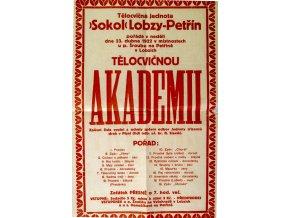 Plakát Sokol Lobzy Petřín, pozvánka na tělocvičnou akademii, 1922
