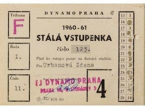 Volná vstupenka klubu Dynamo Praha ( S.K.SLAVIA PRAHA ) na sezonu 1960 61 (2)