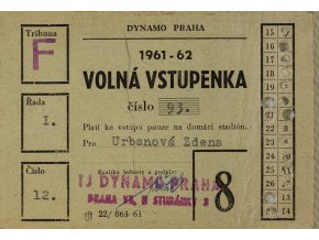 Stálá vstupenka klubu Dynamo Praha ( S.K.SLAVIA PRAHA ) na sezonu 1961 62 (2)