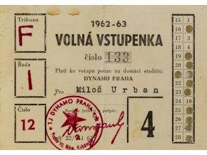 Stálá vstupenka klubu Dynamo Praha ( S.K.SLAVIA PRAHA ) na sezonu 1962 6 (2)